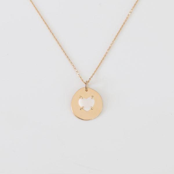ERMANCE médaille or 18 carats zoom médaille porcelaine coeur serti griffe