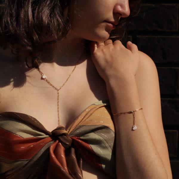 bijou hersende parure bracelet collier maille rectangle coeur porcelaine bijou or porcelaine bijou noces porcelaine