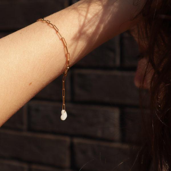 bijou bracelet hersende bracelet maille rectangle coeur porcelaine bijou or porcelaine bijou noces porcelaine