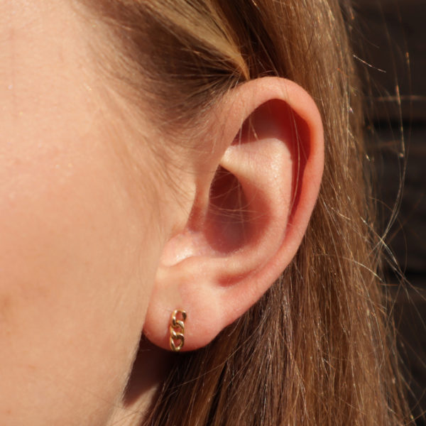 boucles d'oreilles en or maillon boucles d'oreilles chaine boucles d'oreilles petites BO chaine 18 carats