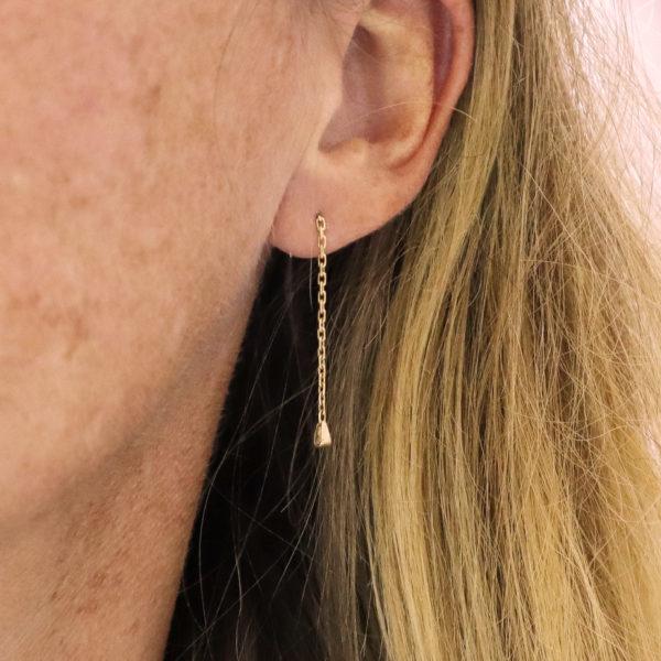 Boucles d'oreilles or pendant boucles d'oreilles gourmette bo or gourmette bb Gourmette transformée gourmette upcyclée