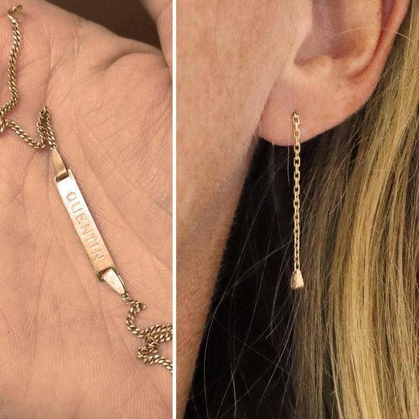 boucles d'oreilles upcyclées or Boucles d'oreilles or pendant boucles d'oreilles gourmette bo or gourmette bb avant-après